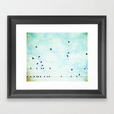 Birds Flying in Sky, Birds on Wires, Aqua Sky Nursery Art Framed Art Print