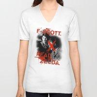 fitzgerald V-neck T-shirts featuring F- Scott. Read Zelda. by Jack Shoegazer