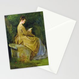 Lady Reading On A Bench - Digital Remastered Edition Stationery Cards