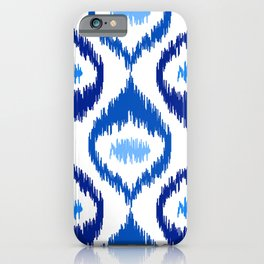 IKAT pattern, indigo blue and white, 07 iPhone Case