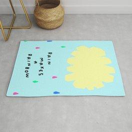 Rain Makes A Rainbow - pastel colorful illustration nursery kids room art Rug