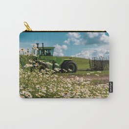 Daisies and a green tractor (defocused) in the Palouse Carry-All Pouch