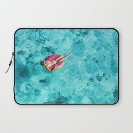 Drone aerial top view of beach vacation woman relaxing in donut float on turquoise ocean Bora Bora Laptop Sleeve
