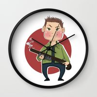 dean winchester Wall Clocks featuring Dean Winchester by RiruD