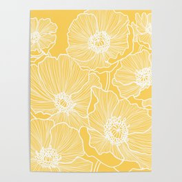 Sunshine Yellow Poppies Poster
