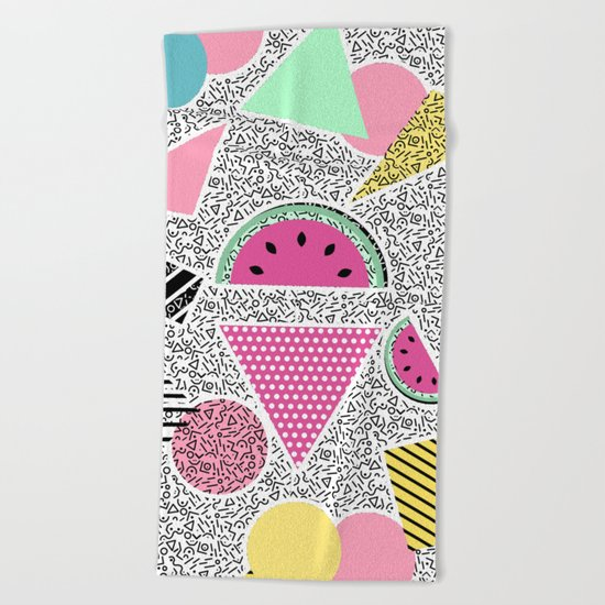 Modern geometric pattern Memphis patterns inspired Beach Towel