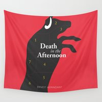 book cover Wall Tapestries featuring Ernest Hemingway book Cover & Poster - Death in the Afternoon by Stefanoreves