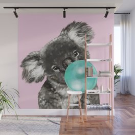 Playful Koala Bear with Bubble Gum in Pink Wall Mural