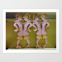 Cut Out Dolls in Pink Navy Suits Art Print