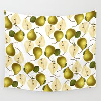 pear Wall Tapestries featuring Pear Pattern by Heart of Hearts Designs