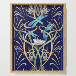 Art Nouveau Dragonflies | Navy Serving Tray