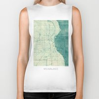 milwaukee Biker Tanks featuring Milwaukee Map Blue Vintage by City Art Posters
