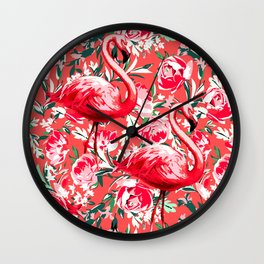 Flamingos and Flowers Wall Clock