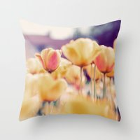 tulips Throw Pillows featuring Tulips by elle moss