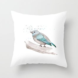 fat little blue bird  Throw Pillow