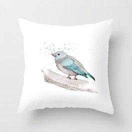 fat little blue bird  Throw Pillow