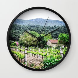 Country Farm | Cute Vineyard Cottage Farming Landscape Rolling Hills Green Mountains Grape Vines Wall Clock