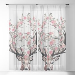 Deer and Flowers Sheer Curtain