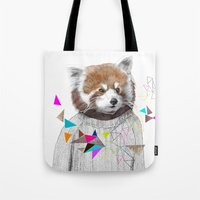 kris tate Tote Bags featuring RED PANDA by Jamie Mitchell and Kris Tate by Kris Tate