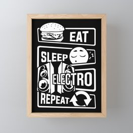 Eat Sleep Electro Repeat - Party Festival Music Framed Mini Art Print