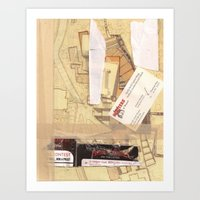 Masking Tape Brown Hooters Collage Art Print