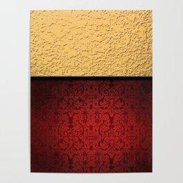 Gold Metallic & Red Damask Poster