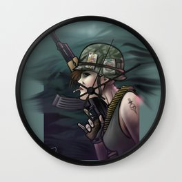 AK47 Soldier Girl Wall Clock