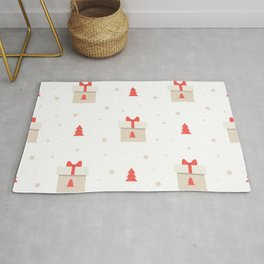 Cute Christmas pattern with Kraft paper gift boxes with red bow and Christmas trees. Rug