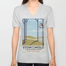 stow on the wold vintage travel poster Unisex V-Neck