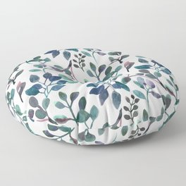 Jade and Succulent Watercolor Plant Pattern Floor Pillow