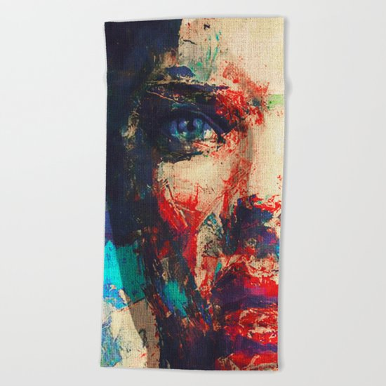 Face in Saturated Color's 3 Beach Towel