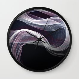 Moody & Beautiful Smoky lacy flux - black, blue, pink #abstractart Wall Clock