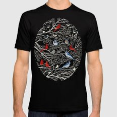 Winter Birds MEDIUM Mens Fitted Tee Black