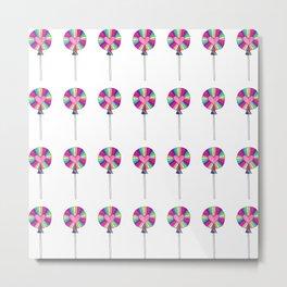 Rainbow Lollipop Candy Pattern Metal Print