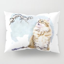 Cute Cat on the Lurk Watercolor Painting Pillow Sham
