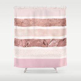Modern blush pink faux rose gold geometrical stripes Shower Curtain