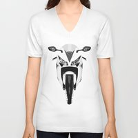 honda V-neck T-shirts featuring Honda Motorcycle by SABIRO DESIGN