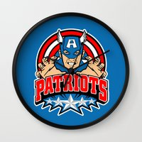 patriots Wall Clocks featuring Patriots by Buby87