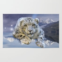 Snow Leopard and Moon Rug