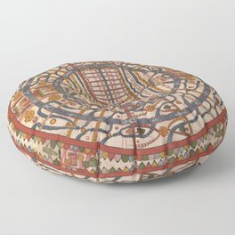 Manuṣyaloka, Map of the World of Man, according to Jain cosomological traditions (circa 1890) Floor Pillow