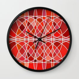 Abstract round shapes in red color Wall Clock