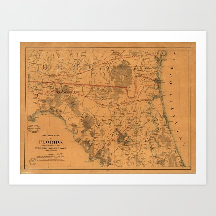 Map Northern Florida.Vintage Map Of Northern Florida 1864 Art Print