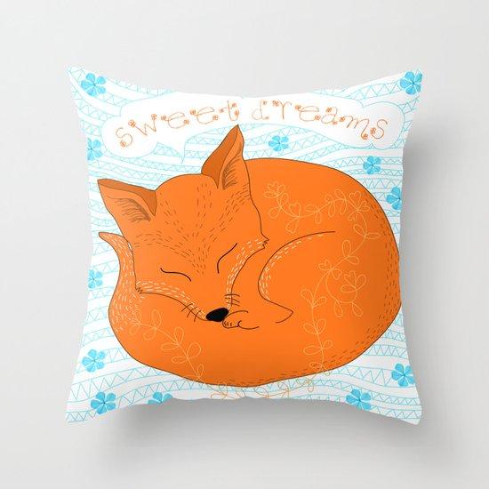 Sweet Foxy Dreams Throw Pillow