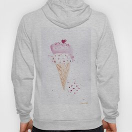 Ice cream Love watercolor illustration summer love pink strawberry Hoody