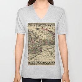 Map Of Ontario 1874 Unisex V-Neck