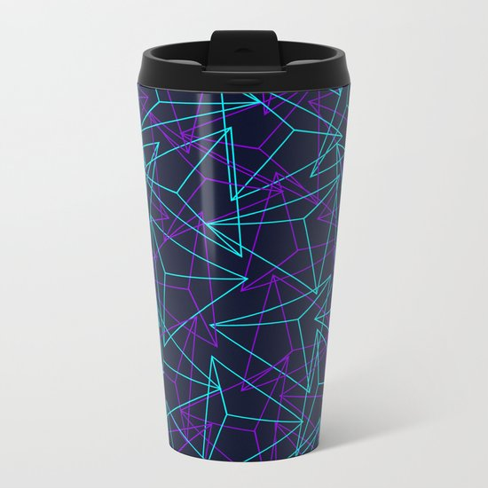 Abstract Geometric 3D Triangle Pattern in  turquoise/ purple  Metal Travel Mug