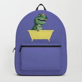 Playful T-Rex in Bathtub in Purple Backpack