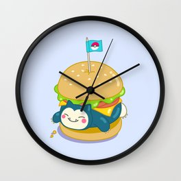 Snorlax Burger Wall Clock