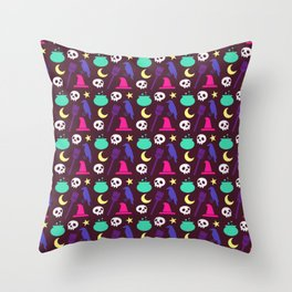 Happy halloween witch hats, crows, brooms, skulls and moons pattern Throw Pillow