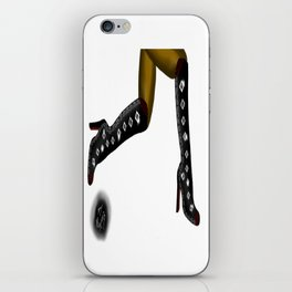 Black Boots, Black Legs Running, White Background by Mgyver D4 iPhone Skin